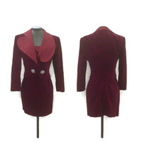 1980s Dress, Vintage Guy Laroche Boutique Burgundy Velvet and Moire Silk Dress and Matching Jacket