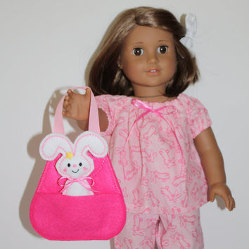 Doll White Bunny Rabbit & Pink Pet Carrier  for your 18 inch American Girl or similar sized dolls