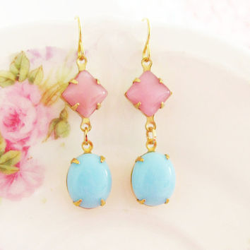 Vintage Aqua Blue Oval Jewel Pink Rose Moonstone Glamour Earrings
