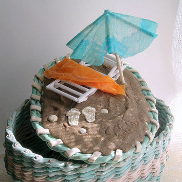 "Hand made wicker basket ""beach"""
