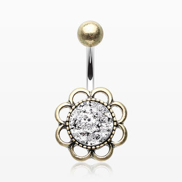 Antique Boho Flower Druzy Crystal Belly Button Ring