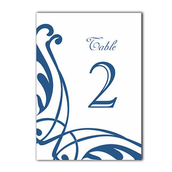 Table Numbers Wedding Table Numbers Printable Table Cards Download Elegant Table Numbers Navy Blue Table Numbers Digital (Set 1-20)