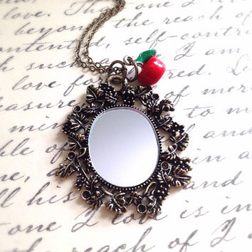 Snow White Inspired Magic Mirror Necklace. Disney. Antique Style Miniature Mirror. Red Poison Apple Charm. Evil Queen. Vintage Style. Enamel