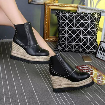 Pumps Rivets Hemp Casual Platform Ankle Chelsea Boots Genuine Leather Women Booties Shoes Straw Harajuku Wedge Goth 2016