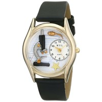 SheilaShrubs.com: Women's Science Teacher Black Leather Watch C-0640013 by Whimsical Watches: Watches
