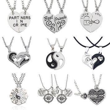 I Love You Best Friends Couple Jewelry Puzzle BFF Key Lock Tai Chi Heart Pendants Necklaces For Women Men Christmas Gift Collier