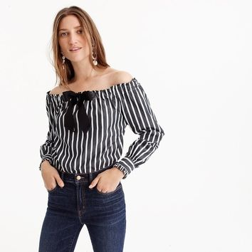 Off-the-shoulder striped top with bow