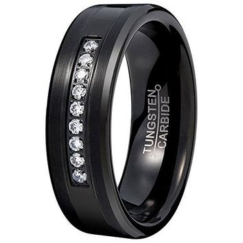 Black 8mm Tungsten Carbide Ring Vintage Cubic Zirconia Wedding Jewelry Engagement Promise Band for Him Matte Finish