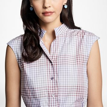Cotton Poplin Mini-Gingham Trapeze Shirtdress - Brooks Brothers