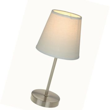 Simple Designs LT2013-WHT Sand Nickel Mini Basic Table Lamp with Fabric Shade, W