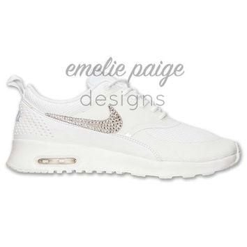 Nike Air Max Thea (White) running shoes with Swarovski Crystals