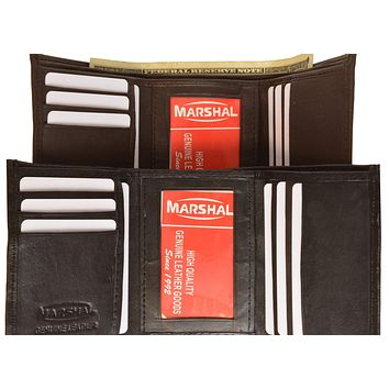 Mens Leather Simple Trifold ID Wallet 1145