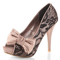 Mink/black lace bow shoes - Heels  - Shoes  Boots  - Dorothy Perkins