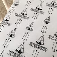 Teepees Crib Sheet, Changing Pad Cover, Pillow, Tribal Bedding, TribalNursery, Black and White bedding, Explorer Teepee Baby Bedding