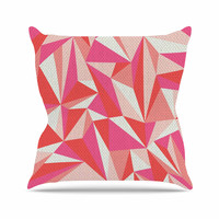 """MaJoBV """"Stitched Pieces"""" Red Pink Outdoor Throw Pillow"""