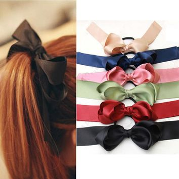 Summer bohemian Korea Style hair accessories for Women Multicolor Scrunchie Ponytail Holder Satin Ribbon Bow HairBand Hair Rope