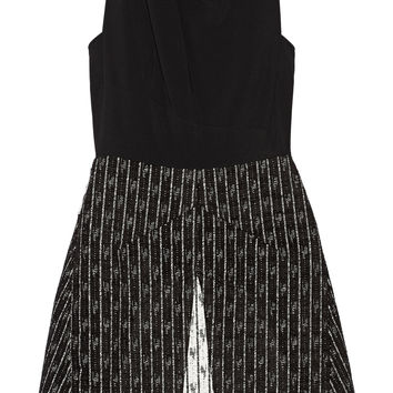 Roland Mouret - Borra crepe and jacquard mini dress