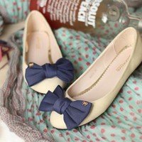 Cute blue bow tie cream ballet flats shoe coco