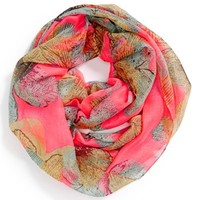 David & Young Leaf Print Infinity Scarf (Juniors) (Online Only)