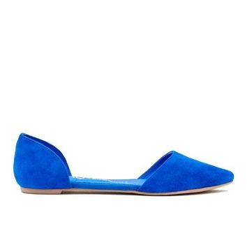 CREYONIG Jeffrey Campbell In Love- Blue Suede D'Orsay Slip-On Flat