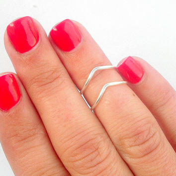 Chevron Above Knuckle Rings - Chevron Knuckle Rings - Set of 2 by Little Thing's