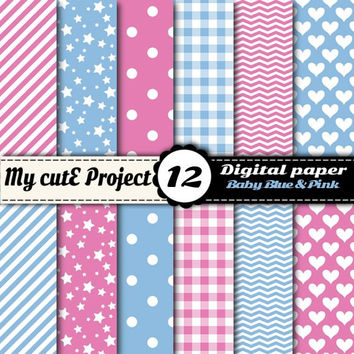 Digital paper pack - Baby Blue & Pink - Instant Download - Scrapbooking (12x12 - A4)