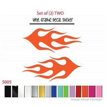 Flames Vinyl Graphic Decal Sticker  - STYLE F5005 - Set of (2)