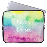 Modern dreams quote typography bright watercolor laptop computer sleeve