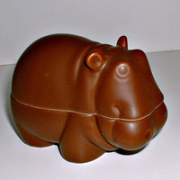 Vintage Hippo Trinket Box Figurine Brown Hippopotumus Japan by Nancy Lopez 1978 Ashtray
