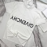 Givenchy 2019 new embroidered letter button POLO shirt half sleeve T-shirt white