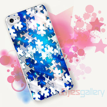 Silver SNOWFLAKE On Blue Christmas for iPhone 4/4S, iPhone 5/5S, iPhone 5C, iPhone 6 Case - Samsung S3, Samsung S4, Samsung S5 Case