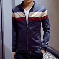 Color Block Zip Men's Jacket