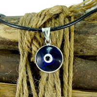 Men Blue Evil Eye Necklace with Large 16mm Sterling Silver Pendant Greek Mati Nazar