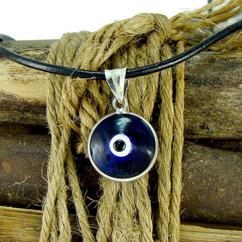 Men Blue Evil Eye Necklace with Large 16mm Sterling Silver Penda 58321545f1