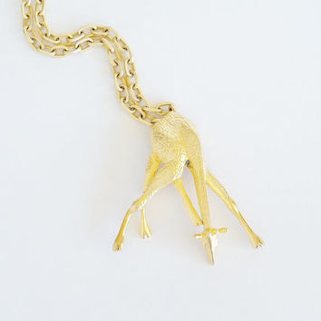 Thirsty Giraffe Pin Pendant Necklace