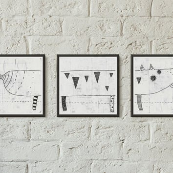 Cute triptych fine art print, B&W print, Sharpie, Mixed media, Dog, Simple art, Square painting, Home decor, Wall decor