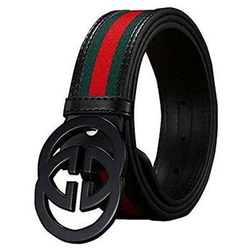 Men Black GG stripes Canvas Leather Belt (110cm, Black buckle)