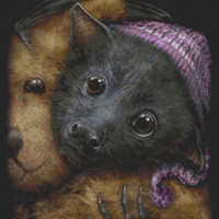 Modern Cross Stitch Kit By SheBlackDragon 'Baby Bats Bedtime' - NeedleCraft Kit