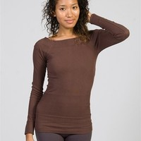 Square Neck-lined Long Sleeve Top - Brown at Lucky 21