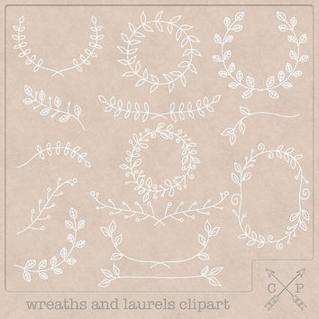 white Hand Drawn frames garland laurels wreaths digital Clipart (A set of 14). White clipart for perfect use on chalk, wedding invitations