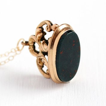Antique Fob Necklace - Victorian Era Rosy Yellow Gold Filled Genuine Bloodstone Charm - Vintage 1900s Filigree Swirled Watch Pendant Jewelry