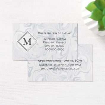 Gray and White Marble look with Diamond Monogram Business Card