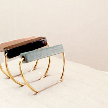 Minimal Ring // Wood and Brass Ring // Hand-Painted Ring // Black // Mint // Beige // Modern Jewelry // Wood Ring // Brass Ring