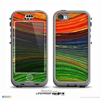 The Green, Blue and Red Painted Oil Waves Skin for the iPhone 5c nüüd LifeProof Case