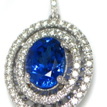 2.56 CT (t.w.) Natural Oval Tanzanite Cut White Diamond Double Layered Halo On 14K/18k Gold Engagement Necklace Pendant