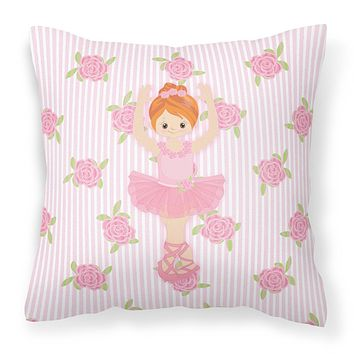 Ballerina Red Front Pose Fabric Decorative Pillow BB5169PW1818