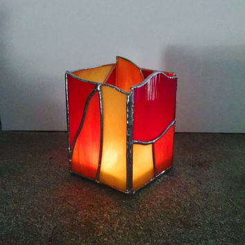 Stained Glass Candle Holder - Abstract Geometric Design - Red Orange Yellow  - Home Decor - Votive Holder - Modern Decor - Pencil Holder