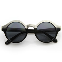 Women's Designer Two Tone Round Sunglasses 8606