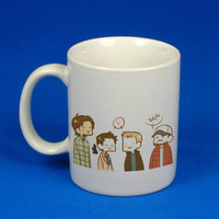 Supernatural cast cartoon custom mug, cup, funny mug , funny cup,, :)