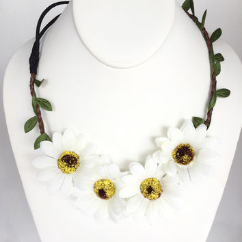 Peace Love Fun White Daisy Headband